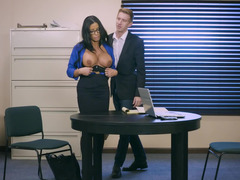 A eager mom with long hair and sizeable boobs is fucked in the office