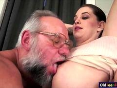 Sweetie Angelina Brill gives bj to a gr&pa & rides cock