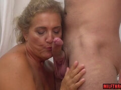 Hottie mature giving head and ejaculation