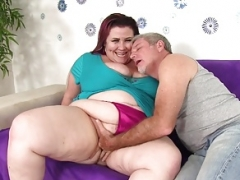 Sizeable boobed Big beautiful women Lady Lynn takes overweight purple pole