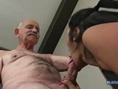 Cathy Heaven having an intercourse with Grandad Ben Dover
