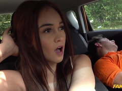 A hung driving instructor is fucking a pretty teen by his car.