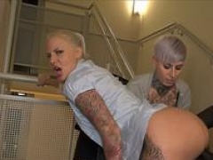 German tattoo biches fucked 3some public from big black knob