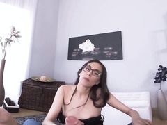Nerdy brunette in stockings practices cock riding on the camera