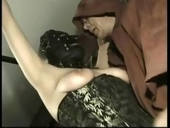 Master plays with clit of horny kilted thrall and additionally bangs her...