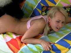 Furry pand moreovera and moreover his rubber purple pole have an intercourse a cute teen blonde