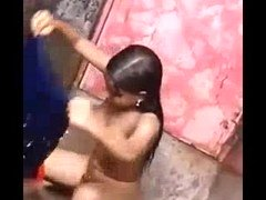 Indian 18-19 y.o. Open Air Outdoor Shower Filmed By Hiddencam