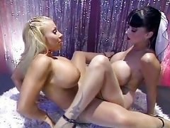 Boobalicious pantyhosed lesbians playing together