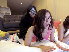 Step sisters fucked by sneaky step-brother during halloween - creampie , jizz flow