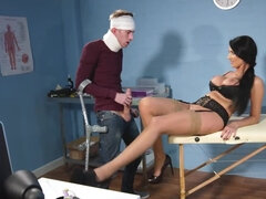 Naughty nurse in erotic lingerie pounded hard by her patient