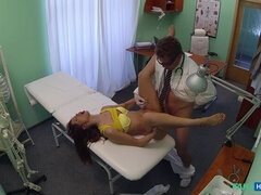 Stunning Brunette Sees Doctor About Her Hot Pussy