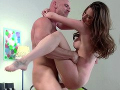 Adorable brunette 18-19 year old gets manhandled in this hot getting down and dirty scene
