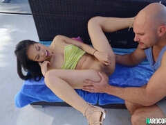Petite Asian young gets huge knob