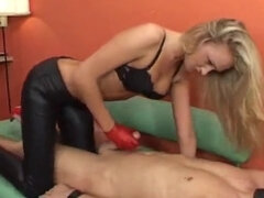 Femdom bare footjob & gloved handjob before riding masked sub