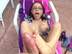 Latina Eva Angelina makes a guy cum with her feet