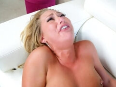 Blonde babe gets screwed hard while naked by her young boyfriend