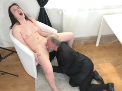 Pale skinned babe gets used by and old guy