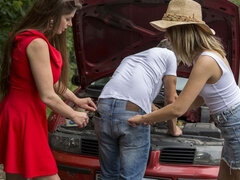 Girlfriends Alice Fabre and Cathy Heaven love having a little bit of naughty fun, even when they are having car trouble