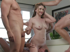One naughty girl is pleasing five gifted guys at once