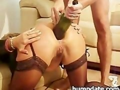 Wife gets a bottle and moreover fist in her butt