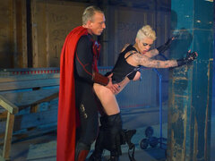 Short haired Mila Milan drilled by super man