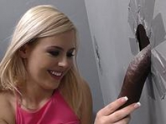 Gal gulps glory hole cum