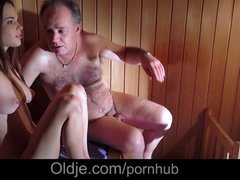 Shaggy mature man is having an intercourse vernal Hot Baby in the sauna