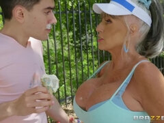 60 y.o. lustful busty granny is doing it with a young guy. Dayum!