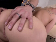 Oiled up Kimmy Olsen gets eaten out & fucked from behind