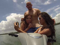 Eva Saldana & Tiff Bannister swap partners in a foursome on boat
