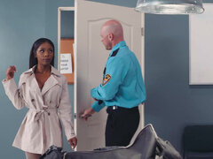 Ebony Sarah Banks suck & bounce on security guard guy's white prick