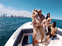 Sinful bikini broads got fucked on a boat