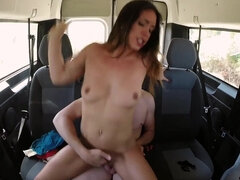 British slut Eve open her legs and takes a big spanish dick on the backseat