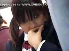 Japanese schoolgirl gets groped and furthermore fucked by a stranger on the bus