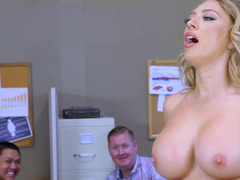 A blonde is showing off her sexy tooshie in the office and plus she is fucked