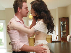 Evelyn Claire hardcore makeout in kitchen with her lover