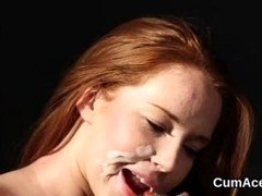 Unusual hottie gets sperm load on her face eating all the load