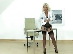 Hot Blonde Milf gives lad a handjob