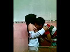 Far eastern Couple Having an intercourse In School Toilet