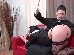 Pretty youthfull french nun deep ass fucking pummeled fisted and cum in mouth by the priest