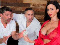 Big-boobed brunette Jewels Jade double penetrated in a hardcore mode
