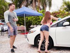 Outdoor car wash turns into a sex with hot Sexually available mom in jeans shorts