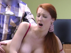 Lender fucks pussy of natural witch with red hair for a loan