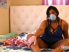 big buxomy ebony JOI with mask and gloves