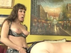 Strapon mommy Alexandra Silk nails his tooshie with her BBC vibrator