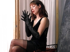 Posh british brunette Mom i`d like to fuck teases in nylons leather gloves