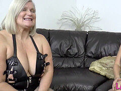 Gran in leather undergarments gets throated