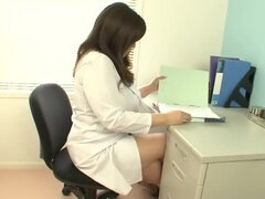 Attractive Asian nurse plays with own jugs during lunch break