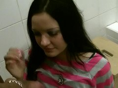 Prostitute from Russia gladly serves two customer in the toilet