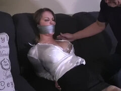 Gagged amateur girl next door in bondage gets screwed - amateur BDSM sex with cumshot